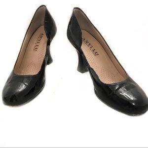 Anyi Lu Blk Patent Leather Handmade Italian Heels